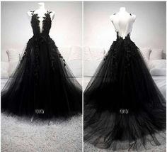 formal dresses Unique Black Tulle V Neck Sheer Back Lace Applique Evening Dress, Formal This dress could be custom made, there are no extra cost to do custom size and colo Black Wedding Gowns, Black Wedding Dresses, Gothic Wedding, Formal Dresses, Tight Dresses, Elegant Dresses, Sexy Dresses, Black Evening Dresses, Modest Wedding