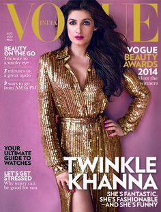 Twinkle Khanna smart & sassy as in Emilio Pucci VOGUE India Akshay Kumar in August 2014 edition! V Magazine, Vogue Magazine Covers, Vogue Covers, Twinkle Khanna, Twinkle Twinkle, Vanity Fair, Marie Claire, Nylons, Bollywood Photos