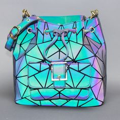 Luminesk Star Holographic Bucket Bag - Now Available Holographic Adidas, Cool Shapes, Bike Style, Small Backpack, Cute Purses, Cute Bags, Beautiful Bags, Small Bags, Evening Bags