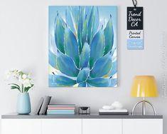 Bright Blue Succulent Watercolor Canvas Colorful Succulent | Etsy