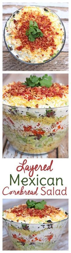 Layered Mexican Cornbread Salad Recipe Mexican Cornbread Casserole: Delicious layered salad for potlucks! Layered Mexican Cornbread Salad Recipe Mexican Cornbread Casserole: Delicious layered salad for potlucks! Cornbread Salad Recipes, Mexican Cornbread Casserole, Pasta Recipes, Dinner Recipes, Cooking Recipes, Healthy Recipes, Layered Cornbread Salad, Cake Recipes, Tostada Recipes
