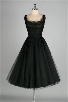 Vintage 1950s Kay Selig Black Lace Dress by millstreetvintage, via Etsy.