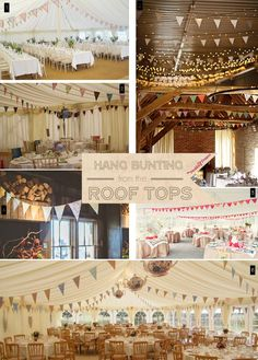 Hanging wedding bunting from the roof of marquee or barn. LOVE the hanging teapots in the bottom photo.