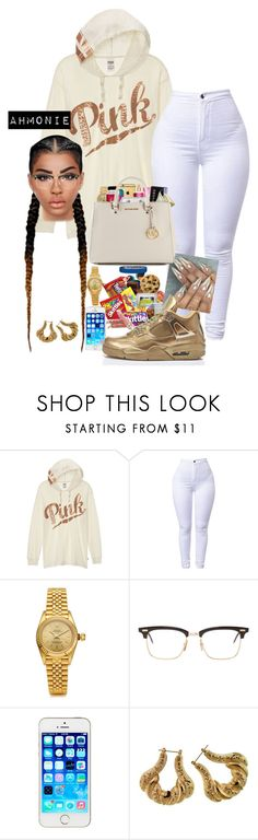 """""""Untitled #605"""" by ahmonie on Polyvore featuring Victoria's Secret PINK, Rolex, Thom Browne and adidas Originals"""