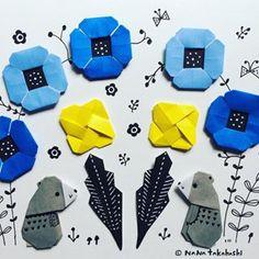 子グマ兄弟(^.^) #折り紙 #イラスト #おりがみ #くま #おはな #illustration #paperflower #papercraft #origami #bear #brother #blue