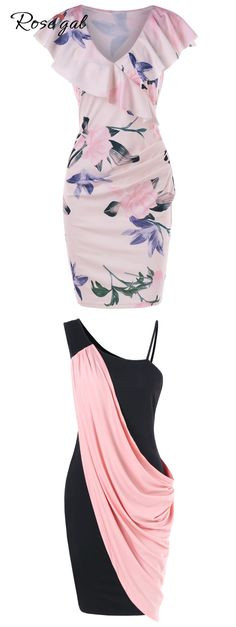 Free shipment worldwide, rosegal floral print bodycon dress party dress casual dress for women… Casual Summer Dresses, Trendy Dresses, Simple Dresses, Casual Dresses For Women, Cute Dresses, Dresses For Work, Clothes For Women, Dress Casual, Woman Dresses