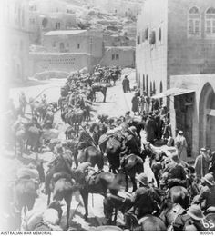 A view of Light Horse and British troops in the town of Es Salt, in Palestine, from the post office. Ottoman Empire: Transjordan, Es Salt, 2 May 1918