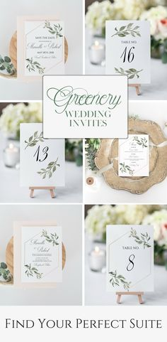 Greenery Wedding Invitation Suite | Find Your Perfect Suite | Wedding Table Numbers | Wedding Invitations | Greenery Wedding Decor