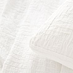 Pine Cone Hill   Baja White Matelassé Coverlet   Interlocking rectangles of soft cotton are an unexpected, textural touch, on a goes-with-anything neutral coverlet.