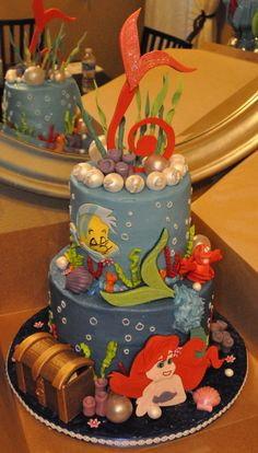 Little Mermaid Cake like the tail on the bday number