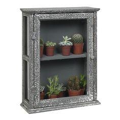 Kastje van hout met glas met een middenplank. Verweerde look, grijs. 39 x 14 x 49 cm. €49