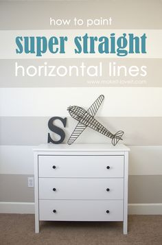 to Paint SUPER Straight Horizontal Striped Lines on a Wall How to Paint {{Super Straight}} Horizontal StripesHow to Paint {{Super Straight}} Horizontal Stripes Painting Horizontal Stripes, Striped Walls Horizontal, Painting Wall Stripes, Striped Accent Walls, Stripe Walls, My New Room, Boy Room, Kids Bedroom, Bedroom Ideas