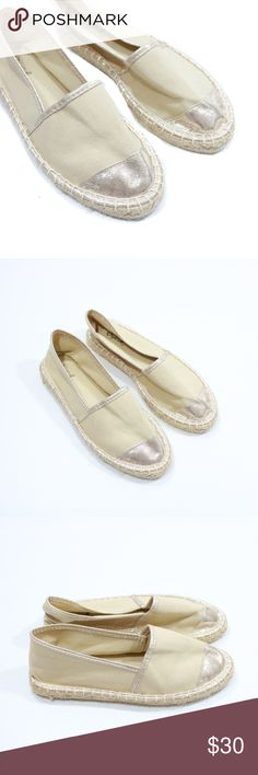 Qupid Espadrilles Flats Beige and Light Gold * New without Box * Color: Beige and Gold * Size: 7 * No trades, thank you! * I do ❤️ reasonable offers. Qupid Shoes Espadrilles