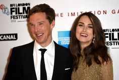 10/8/14 - Keira Knightly and Benedict Cumberbatch at the 2014 BFI London Film Festival for the opening night gala of The Imitation Game