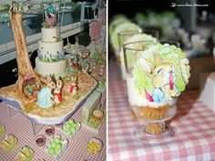 View of the cake and details for this Peter Rabbit themed party