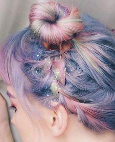 "limecrime: ""Pixie dust, pastel hair, braids the ultimate dream! ☁✨ Hair via Lucy Gregory. Pelo Multicolor, Galaxy Hair, Coloured Hair, Mermaid Hair, Mermaid Makeup, Grunge Hair, Rainbow Hair, Rainbow Brite, Crazy Hair"