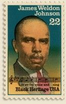 """Essay on """"The Approaching 100th Anniversary of the Harlem Renaissance (part 1 of 2)"""" By Aberjhani with rare Black Heritage stamp of Harlem Renaissance author James Weldon Johnson. """"Lift Every Voice and Sing"""" quote. Black History Month.  http://www.authorsden.com/categories/article_top.asp?catid=10"""
