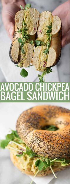 Vegan Avocado Chickpea Salad Bagel Sandwich. Healthy vegan sandwich! Smashed chickpea and avocado salad on poppyseed bagels. #vegetarian #vegan #sandwich #vegansandwich #healthy | www.delishknowledge.com