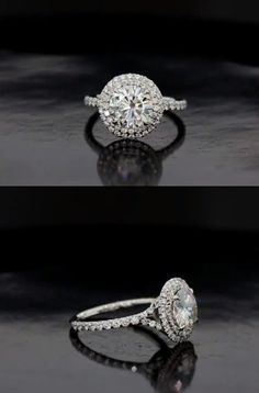 double halo/split shank, round brilliant engagement ring