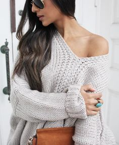 oversized knit grey sweater