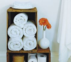 Bath towels in a wooden crate