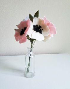 Anemone Felt Flower Bouquet  Felt Bridal Bouquet by ThreadandHeart