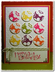 handmade birthday card .. nine patch of brightly colored circles ... Circle Circus ... baker's twine ... fun card! ...Stampin' Up!