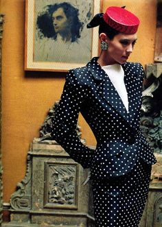 """I wanted a 3-piece pantsuit: High-Waisted, 3/4 """" Sleeved Jacket, Vest; I'll call it the Power-Down Suit"""