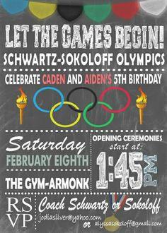 Olympic Themed Birthday Invitation by BowersInk on Etsy Gymnastics Birthday, Boy Birthday, Boys Gymnastics, Olympic Gymnastics, Olympic Idea, Holiday Club, Field Day, Sports Party, Birthday Invitations