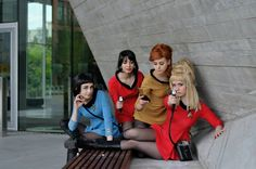 One last group shot before I start neglecting deviantart and going back to work on my four August con cosplays From left to right: Fem! Women of Starfleet Trek Ideas, Star Trek Cosplay, I See Stars, Star Trek Tos, Uss Enterprise, Spock, Beauty Women, Science Fiction, Cool Pictures