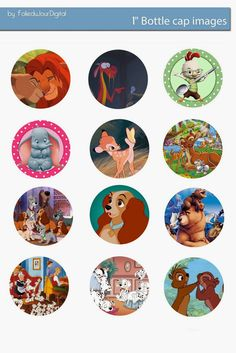 Folie du Jour Bottle Cap Images: Disney animals Free digital bottle cap images