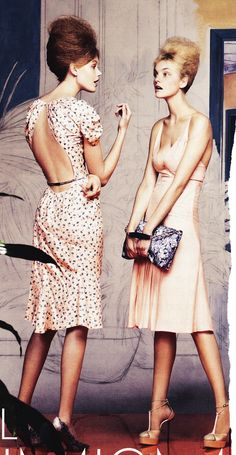 (Left) Nina Ricci dress and pumps, (right) Calvin Klein dress and stilettos; Vogue, March 2012