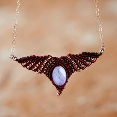 New to MacrameLoveJewelry on Etsy: 30% Off - brown Angel wings necklace amethyst necklace  tribal necklace macrame necklace collier en macramé gypsy necklace amethyst charm (58.00 USD)