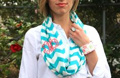 Monogrammed chevron infinity scarf from Initial Outfitters.  More colors available.  $22  #monograms Initialoutfitters.net/sarahberry