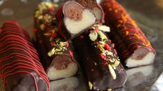 Chocolate covered marzipan filled with dark cinnamon chocolate cream. Chocolate Cream, Chocolate Dipped, Almond Paste, Spiced Coffee, Marzipan, Fun Cooking, Sweets, Homemade, Snacks