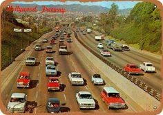 Vintage Los Angeles - Hollywood Freeway by Yesterdays-Paper California History, Vintage California, California Dreamin', Los Angeles California, Los Angeles County, Vintage Postcards, Vintage Photos, Vintage Cars, San Fernando Valley