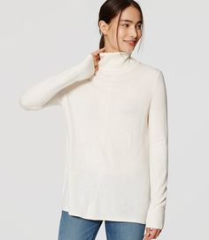 Primary Image of Seamed Turtleneck Sweater