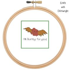 Craft with Ruth Cartwright: Free cross stitch pattern 'I'm Batty for you' Funny Valentine card