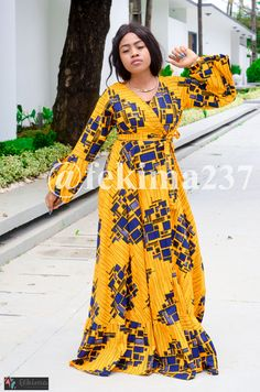 This long wrap dress in high quality wax, Igbo pattern is made to suit your style. African Print Clothing, African Print Fashion, Africa Fashion, Tribal Fashion, African Fashion Dresses, African Prints, Ankara Dress Styles, Ankara Gowns, African Wear