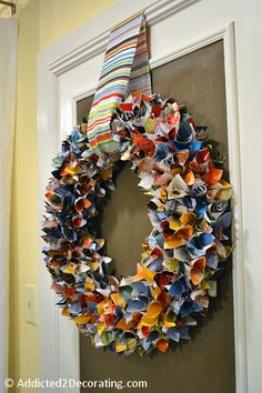 upcycled magazine wreath - very clever...and colorful!  :)