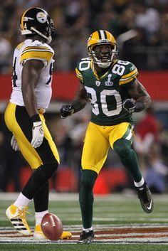 Donald Driver my favorite Packer....scored on them Steelers, how do you like that Nicole ;)