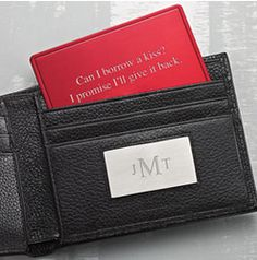 Engraved Black Wallet from Things Remembered for him. #valentinesday #giftsforhim