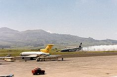 Boeing 707-329 OO-SJE during landing  at Tenerife airport on 15th February 1978. Plane took fire after noes gear collapse. All pax and crew escape safely.  Collection Willy Henderickx