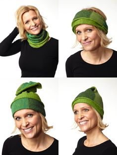 VendeHueRør. Different ways of wearing the cowl.