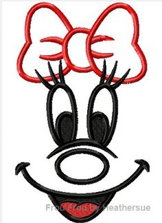 Miss Mouse Just Face  Machine Applique Embroidery Design, Multiple Sizes, INCLUDING 4 INCH