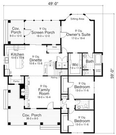 ****favorite**** Country Style House Plans - 1811 Square Foot Home, 1 Story, 3 Bedroom and 2 3 Bath, Garage Stalls by Monster House Plans - Plan House Plans One Story, Cottage House Plans, New House Plans, Dream House Plans, Small House Plans, Cottage Homes, House Floor Plans, Dream Houses, Cottage Farmhouse