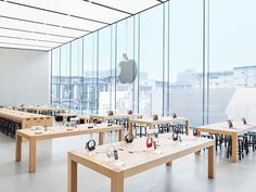 Apple trademarked its store layout in 2013, so many of its retail locations look similar. This one has an enormous glass front that looks out on the streets of Hangzhou.