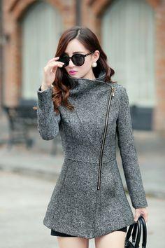 Dark Grey Side Zipper Design Winter Coat