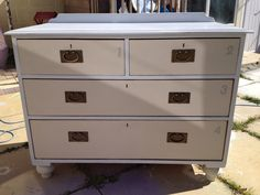 Solid heavy handmade pine chest of drawers painted in autentico Gris and almond and some copper  handles painted by Home Revival find us on Facebook or follow us on twitter