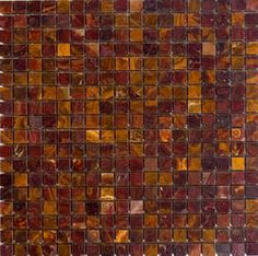 """Epoch Tile Red Polished Onyx Mosaic Floor or Wall Tile 1"""" x 1"""""""